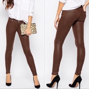 7 Brown Faux Leather Pants